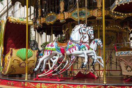 avignon: AVIGNON, FRANCE - MAY 04, 2015: Carousel horse in historical centre of Avignon, southern France