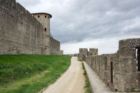 roussillon: Medieval castle and city of Carcassonne, Languedoc - Roussillon, France Editorial