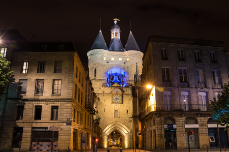 belltower: BORDEAUX, FRANCE - MAY 06, 2015: The Grosse Closhe belltower in historical center of Bordeaux in the night, France