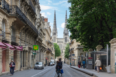 archbishop: BORDEAUX, FRANCE - MAY 06, 2015: Bordeaux Cathedral (Cathedrale Saint-Andre de Bordeaux) is a Roman Catholic cathedral, seat of the Archbishop of Bordeaux-Bazas, located in Bordeaux Editorial