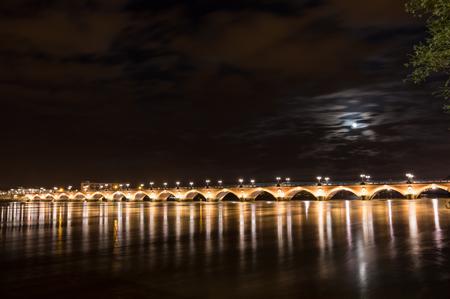 pierre: Pont de Pierre in Bordeaux in the night, Aquitaine, France