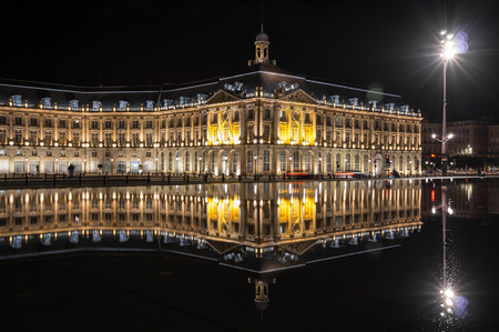 aquitaine: Place de la Bourse in Bordeaux in the night, Aquitaine, France