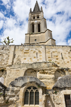 belltower: The belltower of the monolithic church in Saint-Emilion, France