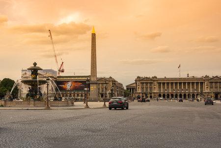 concorde: PARIS, FRANCE - MAY 07, 2015: View on Obelisk of Luxor and Place de la Concorde in the dusk, Paris, France Editorial