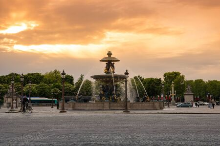 concorde: PARIS, FRANCE - MAY 07, 2015: View of fountain on Place de la Concorde in the dusk, Paris, France