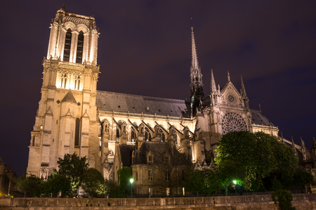 Notre-Dame de Paris (French for Our Lady of Paris) is a medieval Catholic cathedral on the Ile de la Cite in Paris, France. The cathedral is widely considered to be one of the finest examples of French Gothic architecture, and is among the largest and m Stock Photo