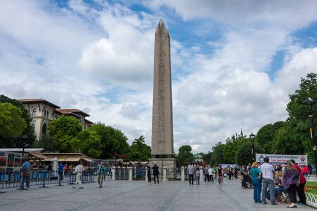 constantinople ancient: ISTANBUL, TURKEY - JUNE 19, 2015: The Obelisk of Theodosius is the Ancient Egyptian obelisk of Pharaoh Thutmose III re-erected in the Hippodrome of Constantinople by the Roman emperor Theodosius I in the 4th century AD Editorial