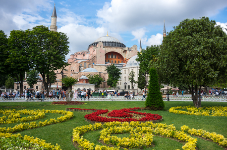 patriarchal: ISTANBUL, TURKEY - JUNE 19, 2015: Hagia Sophia was a Greek Orthodox Christian patriarchal basilica (church), later an imperial mosque, and now a museum in Istanbul, Turkey