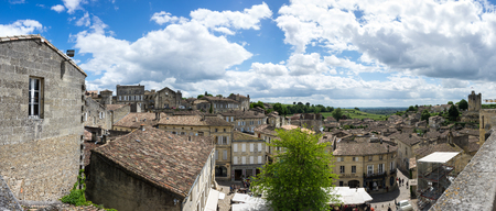 bordeaux region: SAINT-EMILION, FRANCE - MAY 06, 2015: Saint-Emilion - one of the main red wine production areas of Bordeaux region, France. The town is a UNESCO World Heritage site Editorial