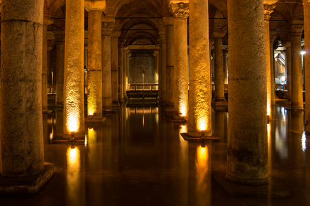 constantinople ancient: The Basilica Cistern is the largest of several hundred ancient cisterns that still lie beneath the city of Istanbul, former Constantinople, Turkey Editorial