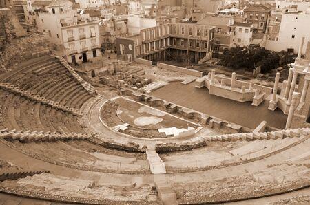 roman amphitheater: Ruins of roman amphitheater in Cartagena, Spain Stock Photo