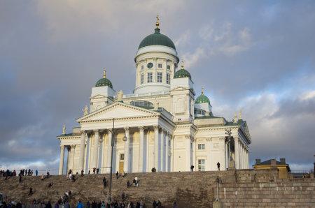 evangelical: HELSINKI, FINLAND - DECEMBER 30, 2013: Helsinki Cathedral, the Finnish Evangelical Lutheran cathedral of the Diocese of Helsinki, Finland. It was also known as Saint Nicholas Church until 1917