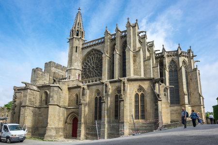 CARCASSONNE, FRANCE - MAY 05, 2015: The Basilica of Saints Nazarius and Celsus (French: Basilique des Saints Nazaire et Celse) is a romanesque-gothic minor basilica, located in the citadel of Carcassonne, France Editorial