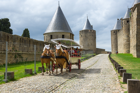 roussillon: CARCASSONNE, FRANCE - MAY 05, 2015: Medieval castle and city of Carcassonne, Languedoc - Roussillon, France