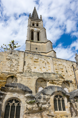 monolithic: The belltower of the monolithic church in Saint-Emilion, France