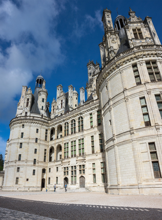 french renaissance: CHAMBORD, FRANCE - MAY 07, 2015: The royal Chateau de Chambord at Loir-et-Cher, is one of the most recognizable castles in the world because of its very distinctive French Renaissance architecture