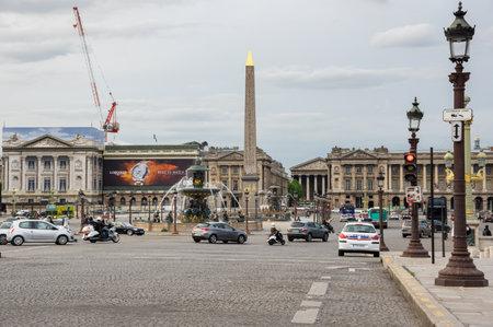concorde: PARIS, FRANCE - MAY 07, 2015: View on Place de la Concorde in the dusk, Paris, France