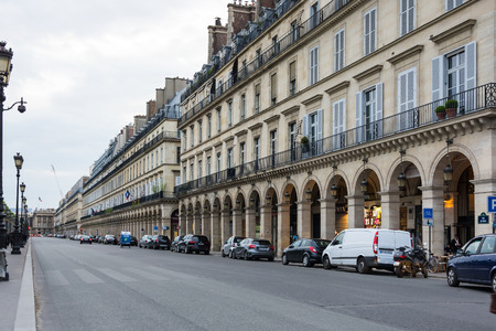 rue: PARIS, FRANCE - MAY 07, 2015: Buildings of Rue de Rivoli in the historical center of Paris in the dusk, France