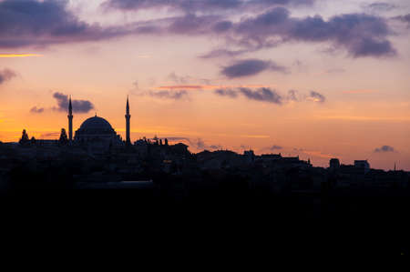 fatih: Panoramic view of european part of Istanbul on sunset, Turkey Stock Photo