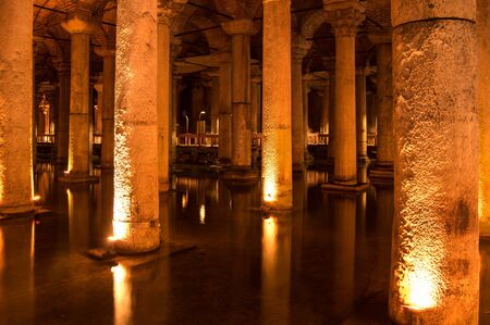 The Basilica Cistern is the largest of several hundred ancient cisterns that still lie beneath the city of Istanbul, former Constantinople, Turkey Editorial