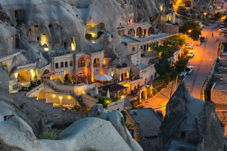 goreme: Goreme town in the night in Cappadocia, Central Anatolia,Turkey Stock Photo