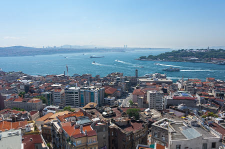 june 25: ISTANBUL, TURKEY - JUNE 25, 2015: Panoramic view of Istanbul from Galata tower, Turkey Editorial