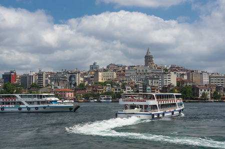 june 25: ISTANBUL, TURKEY - JUNE 25, 2015: Panoramic view of european part of Istanbul and Galata tower, Turkey Editorial