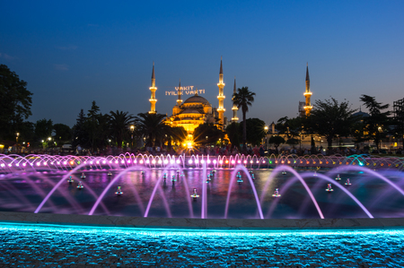 adorning: Sultan Ahmet Mosque  is a historic mosque in Istanbul, Turkey. The mosque is popularly known as the Blue Mosque for the blue tiles adorning the walls of its interior Editorial
