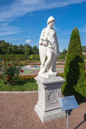 minerva: SAINT- PETERSBURG, RUSSIA - September 06, 2015: Statue of Minerva in Oranienbaum, a Russian royal residence, located on the Gulf of Finland west of Saint Petersburg. Minerva was the Roman goddess of wisdom and sponsor of arts, trade, and strategy