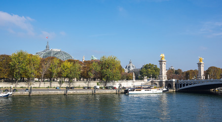 alexandre: Pont Alexandre III over the river Seine and Grand Palais, Paris, France Stock Photo