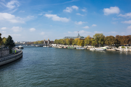 palais: The river Seine in the historical centre of Paris, the capital and most popular city of France Stock Photo