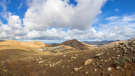 Top view on village Las Casitas de Femes, Canary Island Lanzarote, Spain Stock fotó