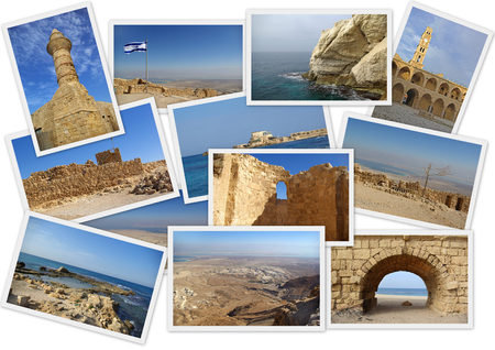 Ancient Israel in collage with several shots on white background