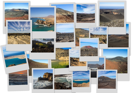 golfo: Volcanic landscapes of Lanzarote island in collage with several shots Stock Photo