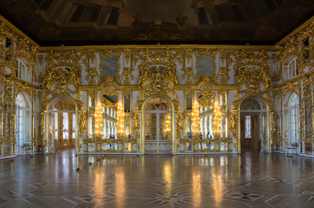 by catherine: SAINT-PETERSBURG, RUSSIA - March 14, 2015: Interior of one of the halls in Catherines Palace in Tsarskoye Selo (Pushkin), 30 km south of Saint- Petersburg, Russia