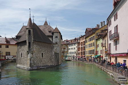 ANNECY, FRANCE - 29 APRIL, 2015: View of the canal in city centre of Annecy, capital of Haute Savoie province in France. Annecy is known to be called the French Venice