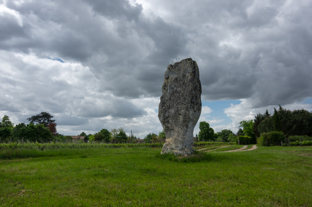 View on prehistoric megalithic menhir in France Stock Photo