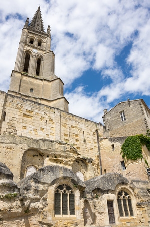 The belltower of the monolithic church in Saint-Emilion, France