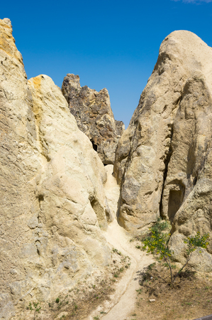 Stone formations in Goreme national park in Cappadocia, Central Anatolia,Turkey