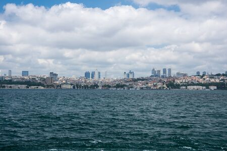 separates: Panoramic view of Bosphorus, which separates Asian Turkey from European Turkey in Istanbul Stock Photo