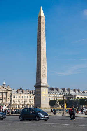 obelisk stone: PARIS, FRANCE - OCTOBER 11, 2015: View on Obelisk of Luxor and Place de la Concorde at sunny autumn day, Paris, France