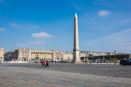 concorde: PARIS, FRANCE - OCTOBER 11, 2015: View on Obelisk of Luxor and Place de la Concorde at sunny autumn day, Paris, France
