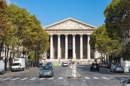 PARIS, FRANCE - OCTOBER 11, 2015: Leglise de la Madeleine is actually a church, dedicated to Saint  Mary Magdalene, Paris, France Editorial