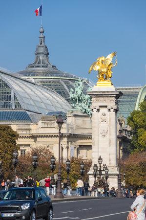 PARIS, FRANCE - OCTOBER 11, 2015: Pont Alexandre III over the river Seine and Grand Palais, Paris, France