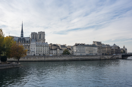 ile de la cite: The Ile de la Cite (Cite Island) is one of two remaining natural islands in the Seine within the city of Paris, France Stock Photo