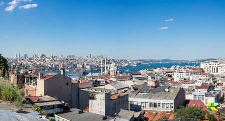 ISTANBUL, TURKEY - JUNE 20, 2015: Panoramic view of Bosphorus, european and asian parts of Istanbul, Turkey
