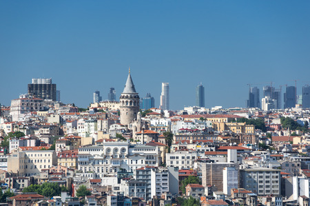View of the Galata tower and districts Beyoglu in Istanbul, Turkey