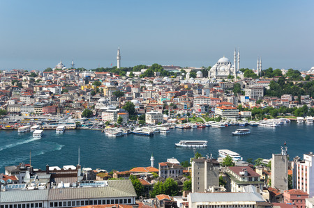 ISTANBUL, TURKEY - JUNE 25, 2015: Panoramic view of Istanbul and Golden Horn from Galata tower, Turkey