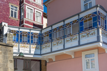 Facades of houses in the old town of Porto, Portugal
