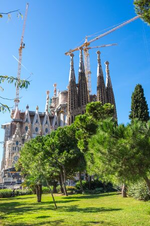 Basilica and Expiatory Church of the Holy Family is a large Roman Catholic church in Barcelona, designed by Catalan Spanish architect Antoni Gaudi Stock Photo